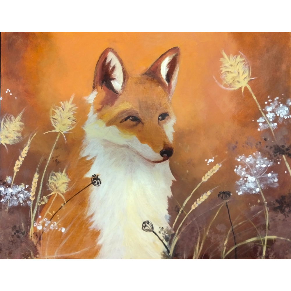 """""""Fire Fox"""" painting and throw"""