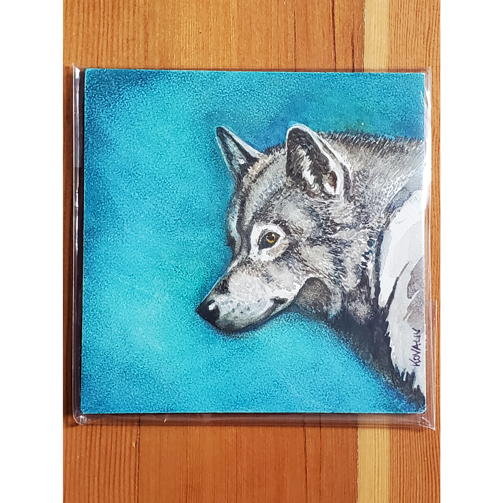 Wolf painting 5 x 5 inches
