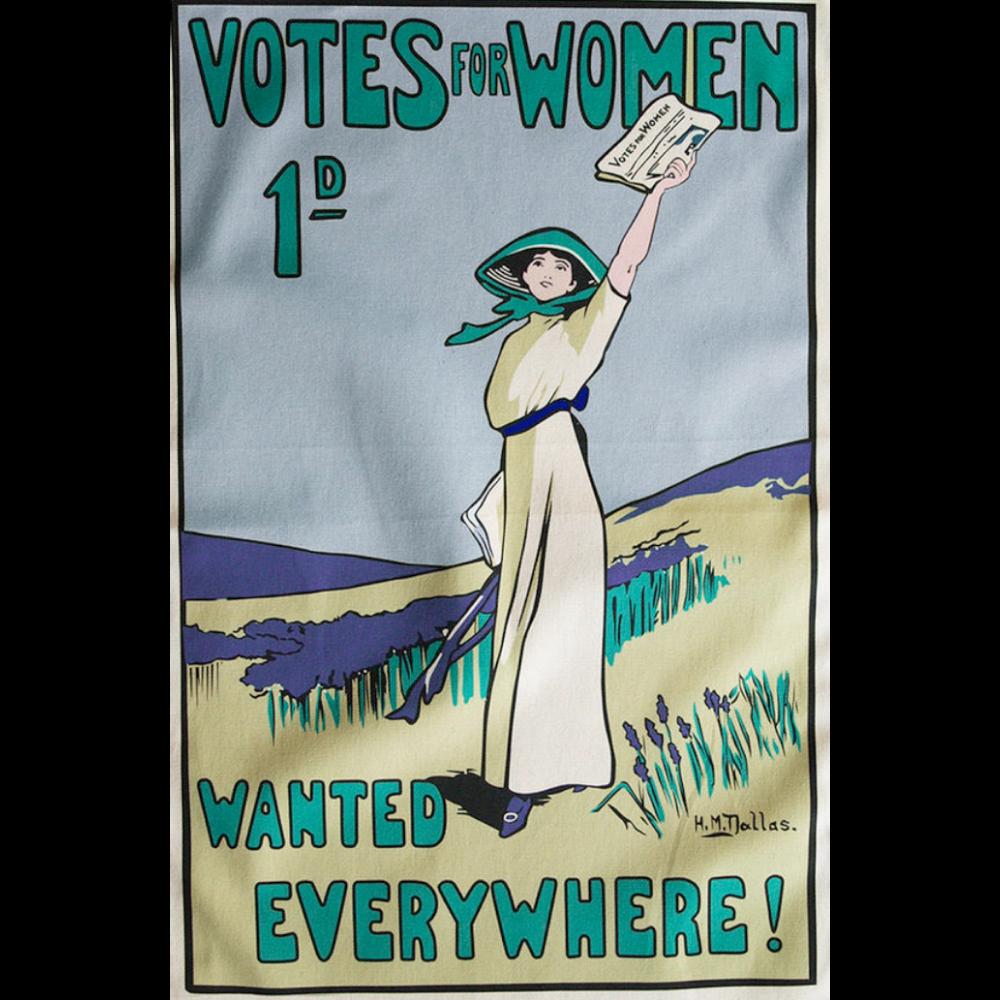 Tea Towel with Votes for Women Theme
