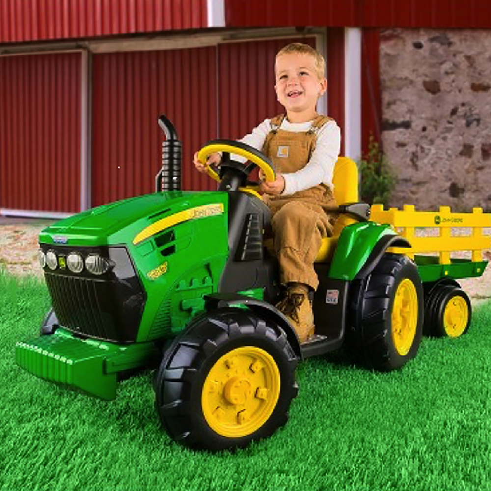 Child's Electric John Deer Ground Force Riding Tractor