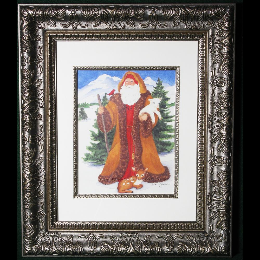 Framed Santa Watercolor
